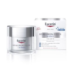 Eucerin® Hyaluron-Filler Tagespflege für trockene Haut + 100ml Eucerin® DermatoCLEAN 3in1 Reinigungsfluid GRATIS