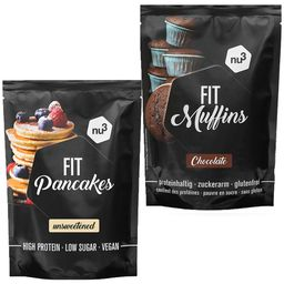 nu3 Fit Pancakes, ungesüßt + nu3 Fit Protein Muffins Schokolade, Backmischung