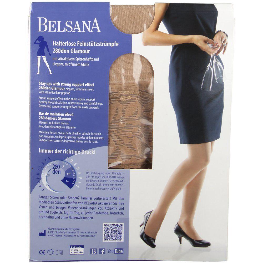BELSANA 280den Glamour Schenkelstrumpf Größe medium Farbe siena normal