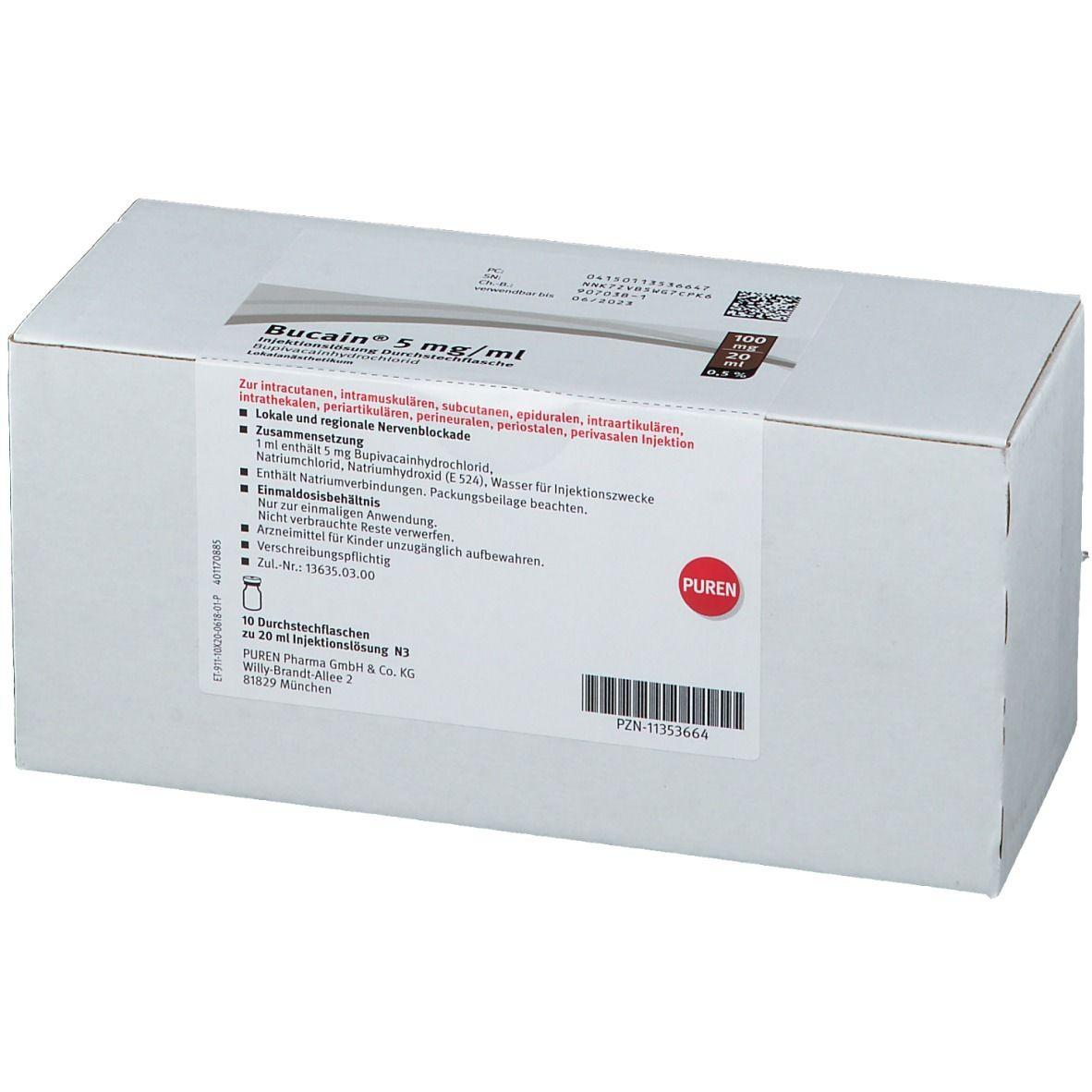 BUCAIN 0,5% 5mg/ml Inj.L.100mg/20ml Dsfl.