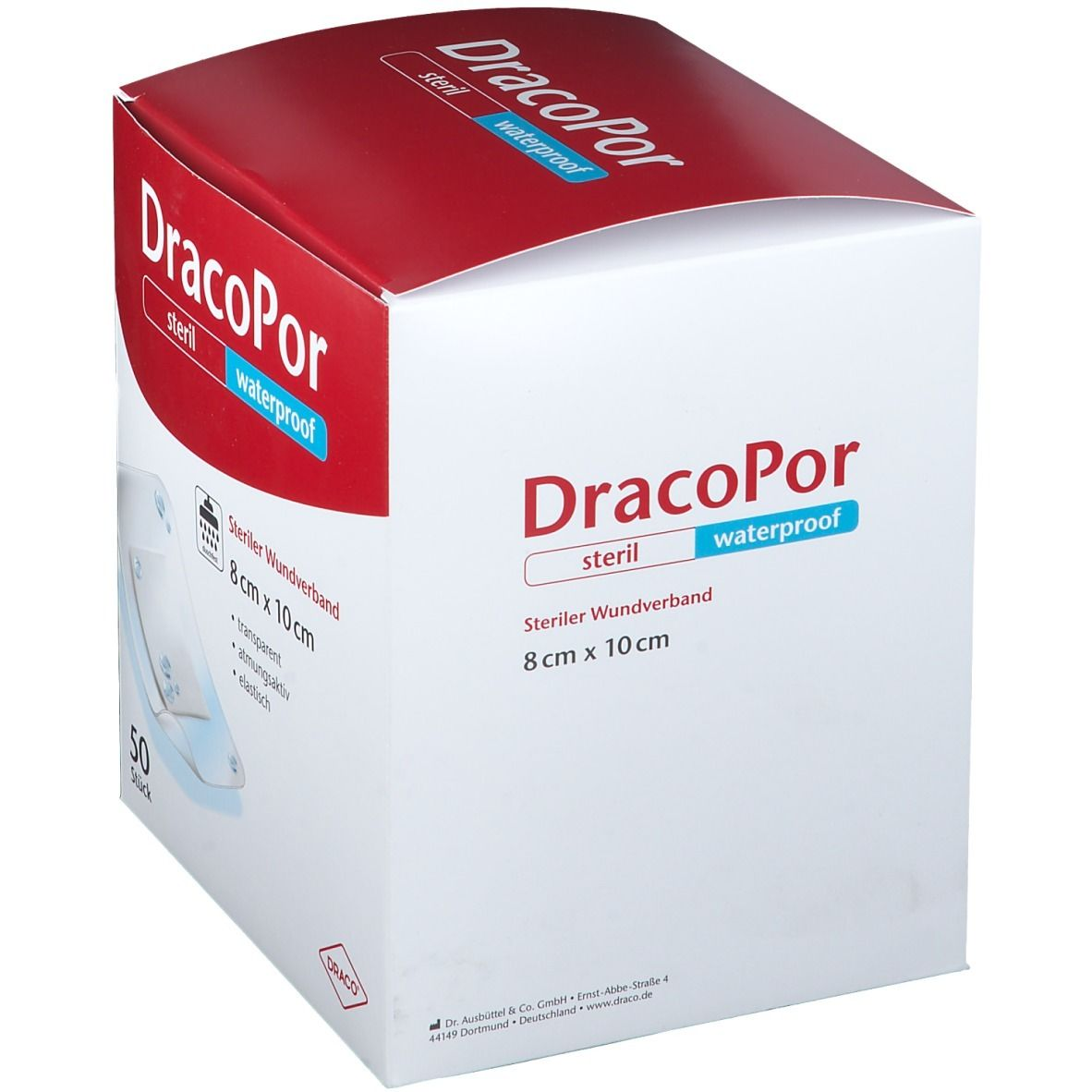DracoPor Waterproof Wundverband steril 8 x 10 cm