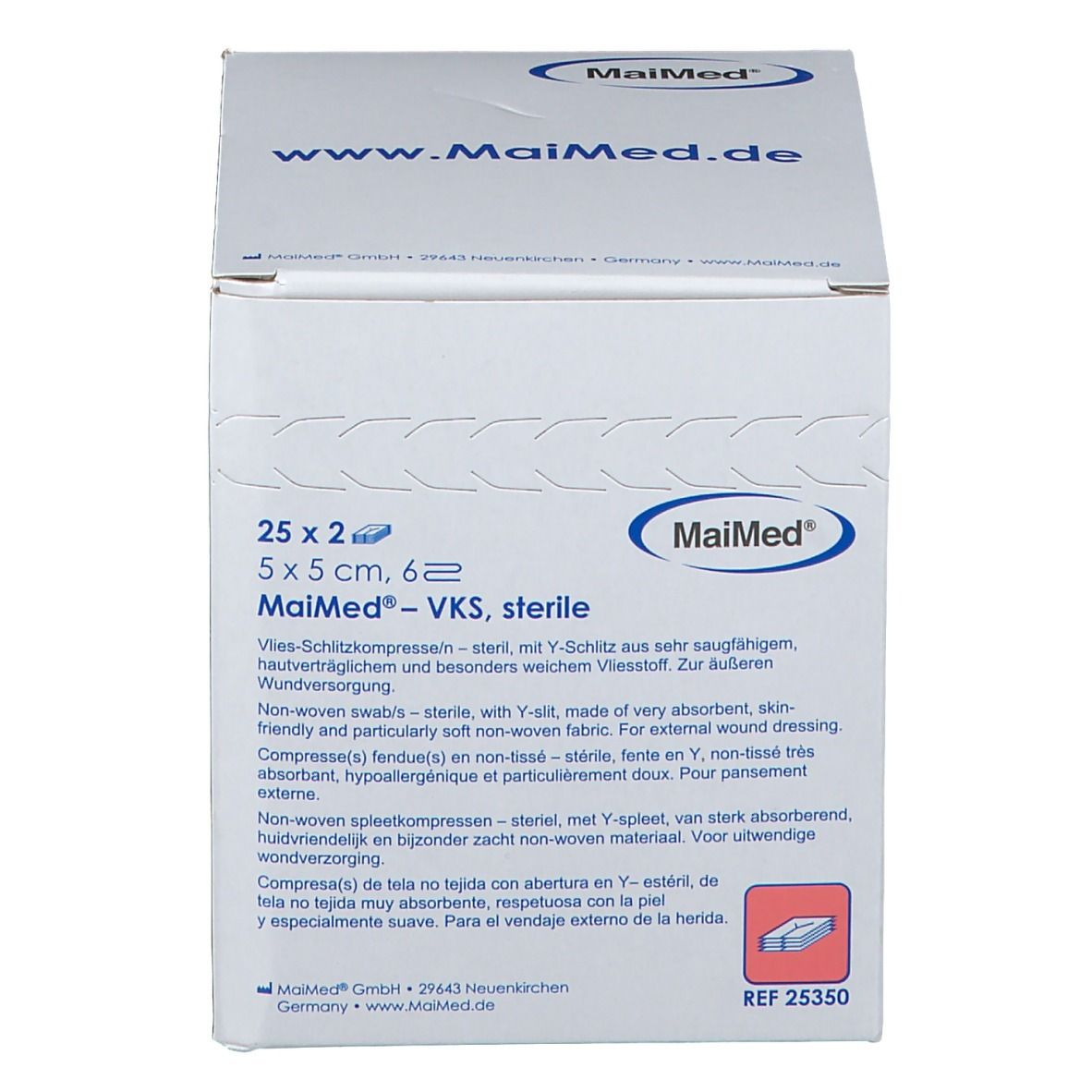MaiMed® Vlies-Schlitzkompressen 5 x 5 cm 6 fach unsteril