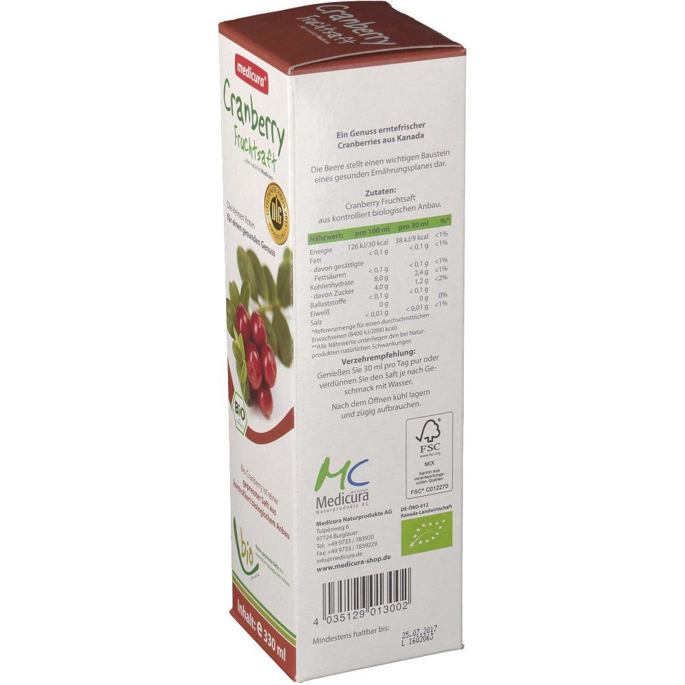 medicura® Cranberry Fruchtsaft Bio