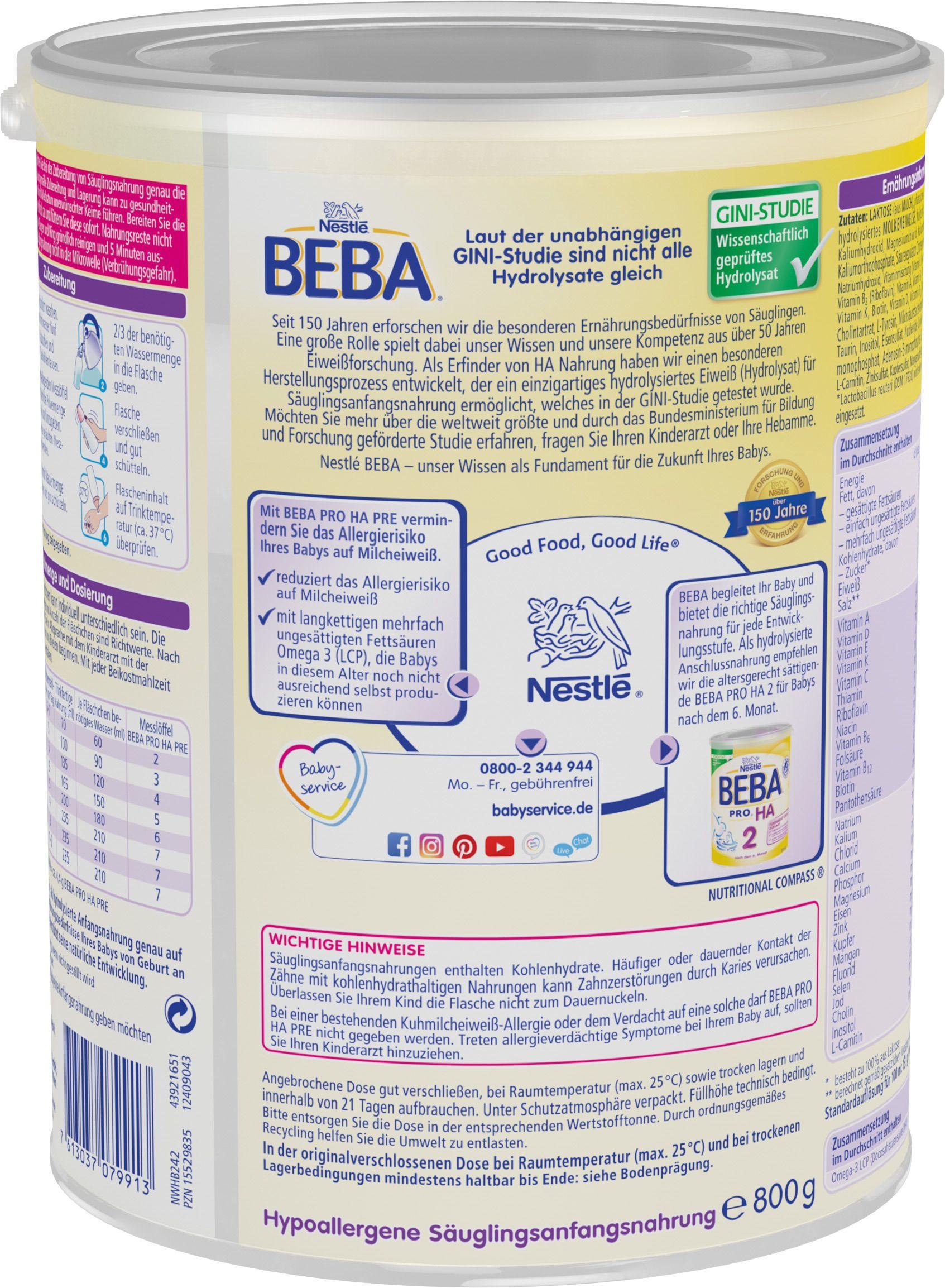 Nestlé BEBA PRO HA Pre Anfangsnahrung, von Geburt an