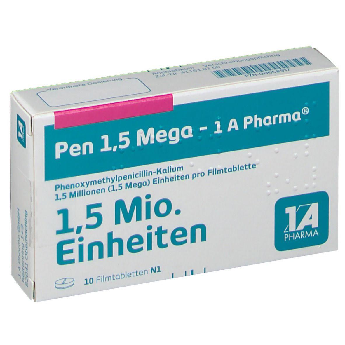 Pen 1,5 Mega 1a Pharma Filmtabl.