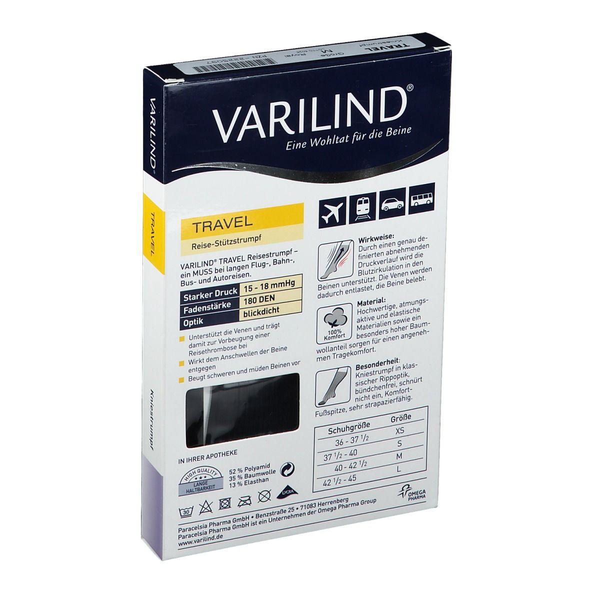 VARILIND® Travel Kniestrümpfe 180 DEN blau Gr. M (40-42,5)
