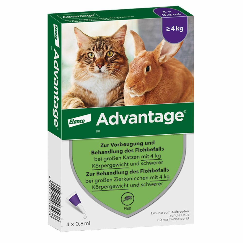 advantage® 80 mg für Katzen und Zierkaninchen über 4 kg