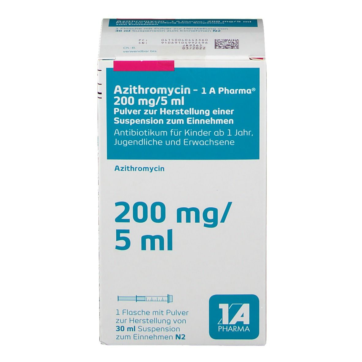 AZITHROMYCIN 1A Ph.200mg/5ml Plv.Hers.Sus.