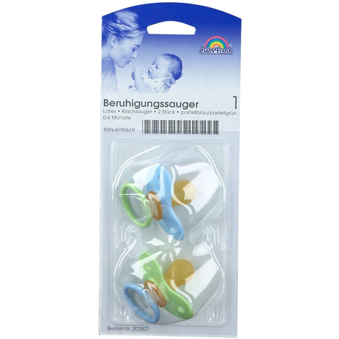 Baby-Frank® Beruhigungssauger in Kirschform Latex 0-6 Monate blau/grün