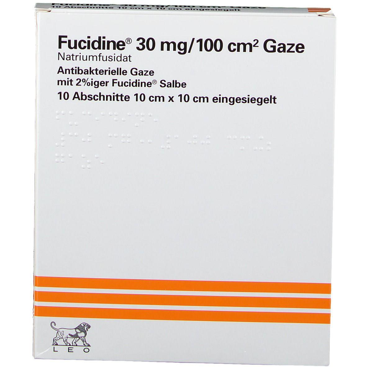 Fucidine Gaze ster.10x10 cm eingesieg.
