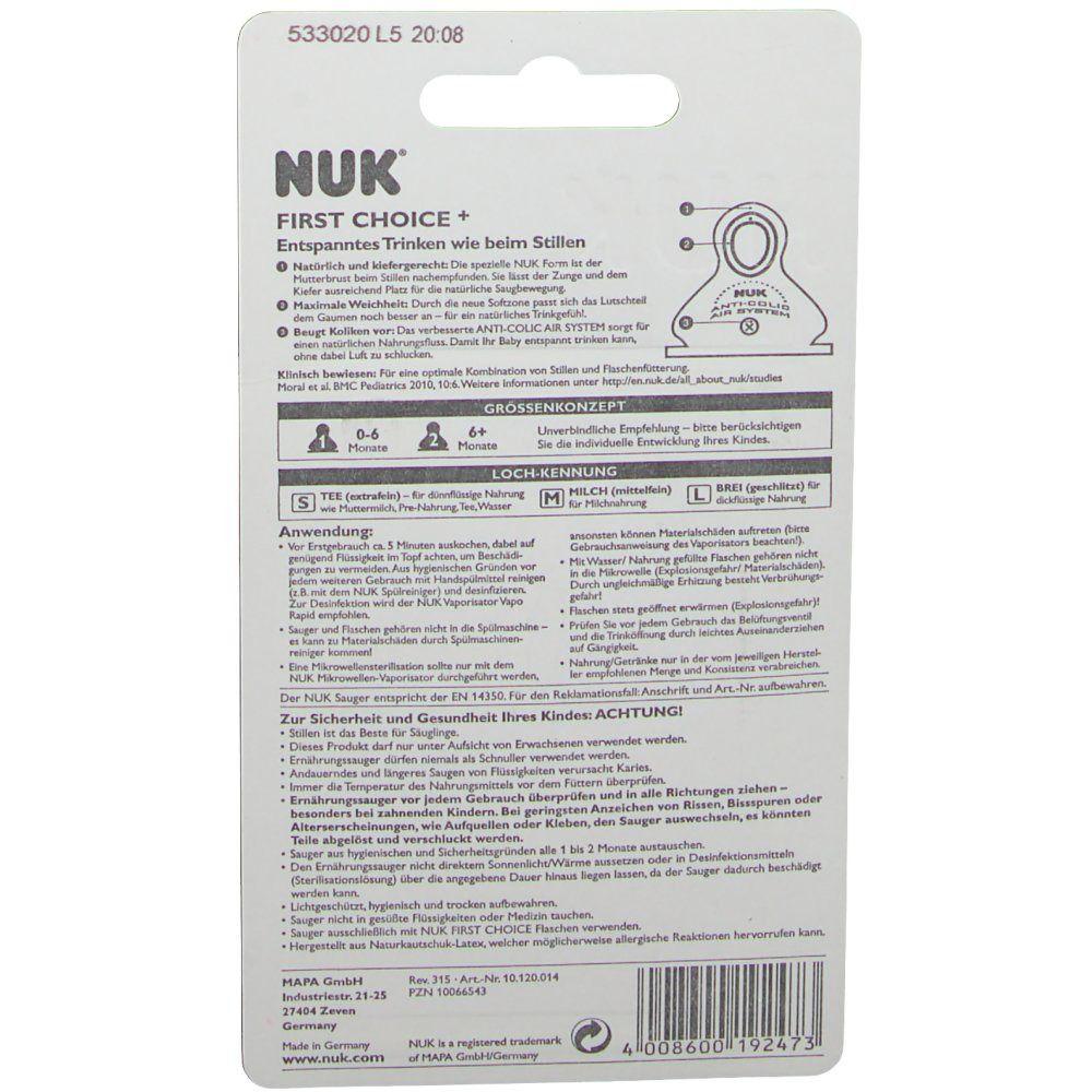 NUK First Choice Plus Größe 1 S Trinksauger Sauger Flaschensauger Baby LATEX