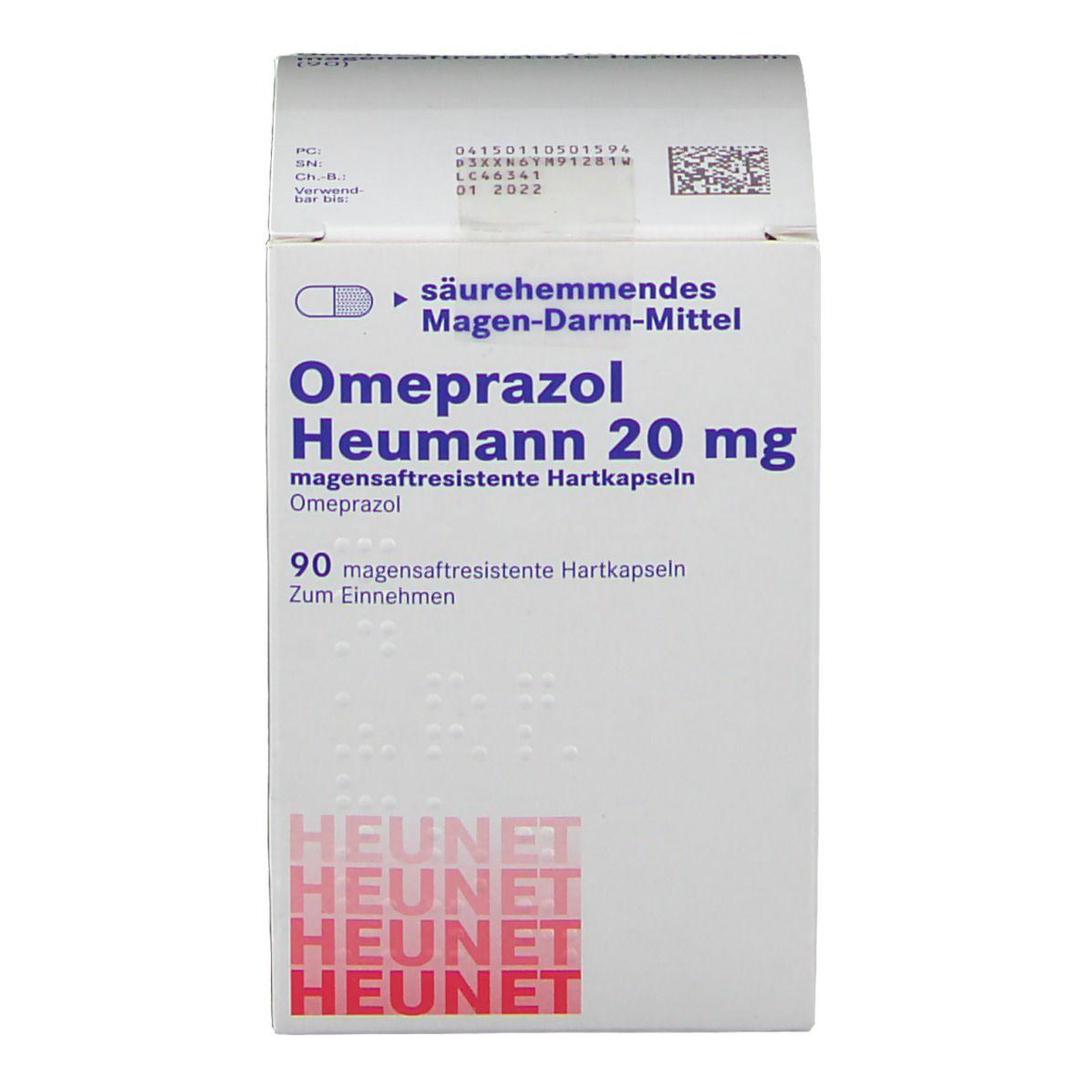 OMEPRAZOL Heumann 20 mg magensaftr.Hartkps.Heunet