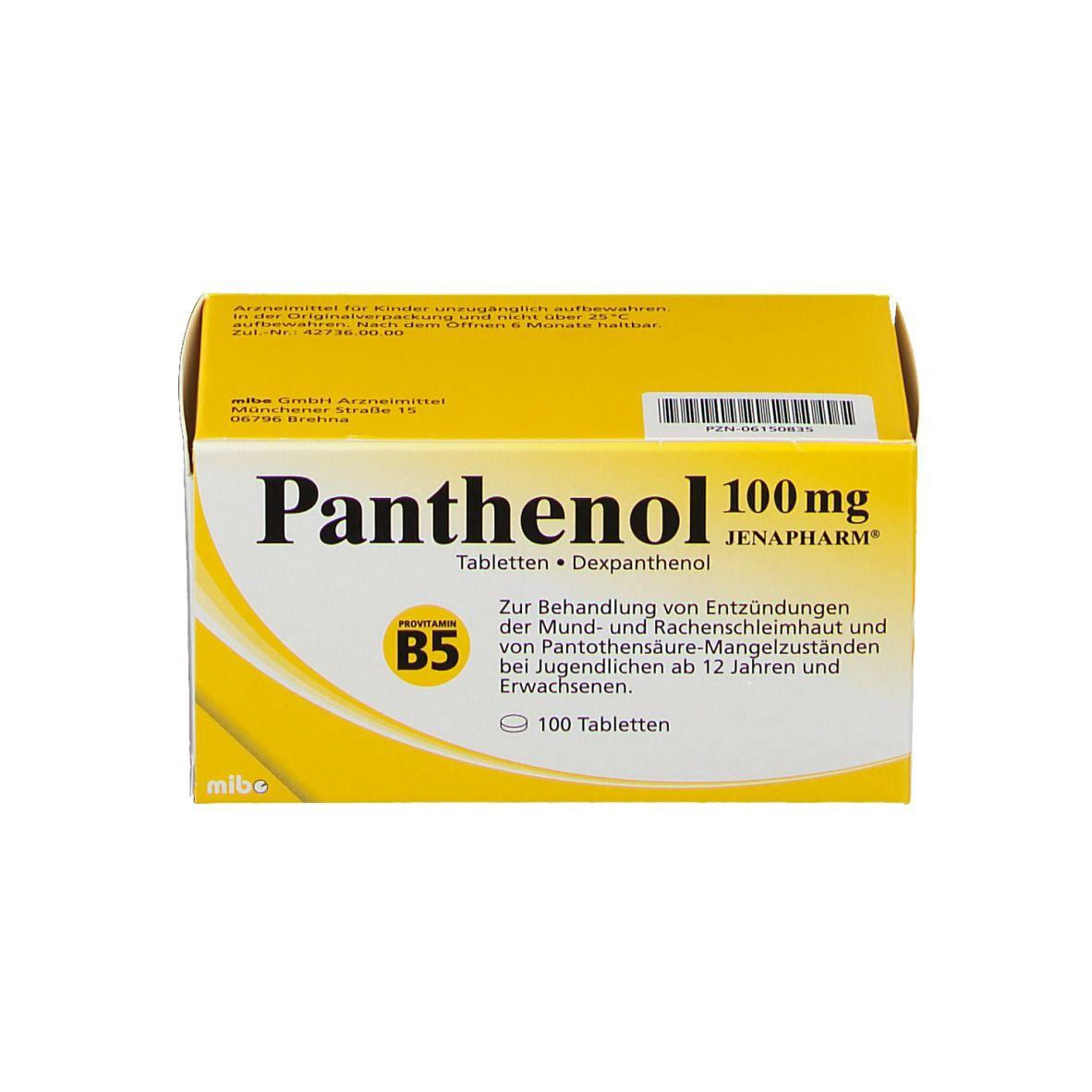 Panthenol 100 Mg Jenapharm Tabletten 100 St Shop Apotheke Com